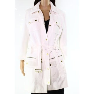INC NEW Washed White Women's Size Small S Peacoat Knit Jacket Cotton