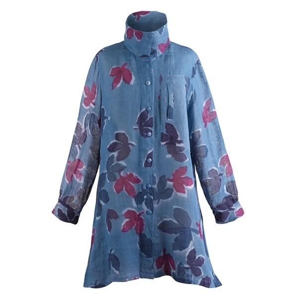 1c38c9d1858 Women's Button Down Tunic Top - Midnight Blue Leaves Batik Linen Blouse