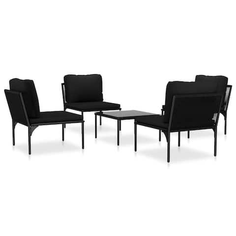 vidaXL 5 Piece Garden Lounge Set with Cushions Black PVC