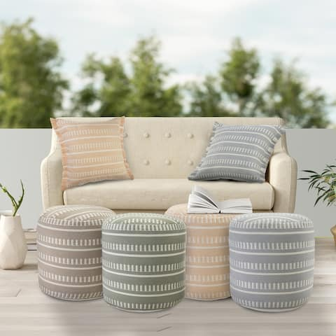 """Dash and Stripe Geometric Indoor Outdoor Pouf - 20"""" x 20"""" x 20"""""""