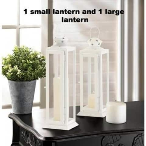 Large and Small Cutout Stars White Lanterns