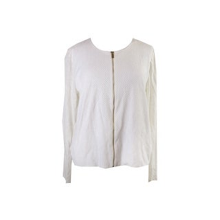Calvin Klein Ivory Perforated Faux-Suede Zip Jacket M