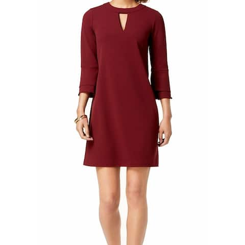 dc29a068206 Charter Club Red Wine Womens Size Medium M Front Keyhole Shift Dress