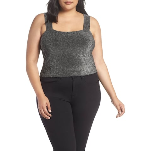 Leith Womens Top nSilver Size 3X Plus Shimmer Square Neck Wide Strap