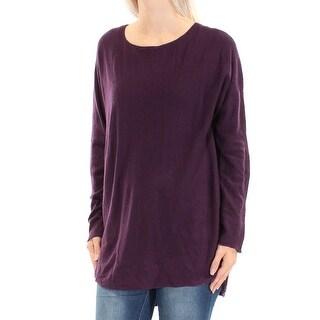 Womens Purple Long Sleeve Jewel Neck Casual Hi-Lo Sweater Size S