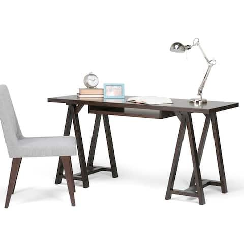 WYNDENHALL Hawkins SOLID WOOD Modern Industrial 60 inch Wide Writing Office Desk