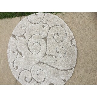 Safavieh Florida Shag Scrollwork Elegance Cream/ Beige Rug (4' Round)