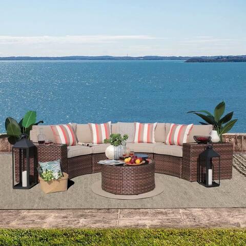7-Piece Half-moon Outdoor Wicker Cushioned Sofa Set