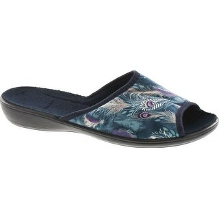 Sc Home Collection Womens 153 Open Toe Low Wedge Peacock Print House Slippers Made In Europe (5 options available)