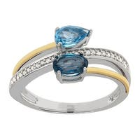 1 ct Natural Swiss & London Blue Topaz Bypass Ring with Diamonds in 14K Gold & Sterling Silver