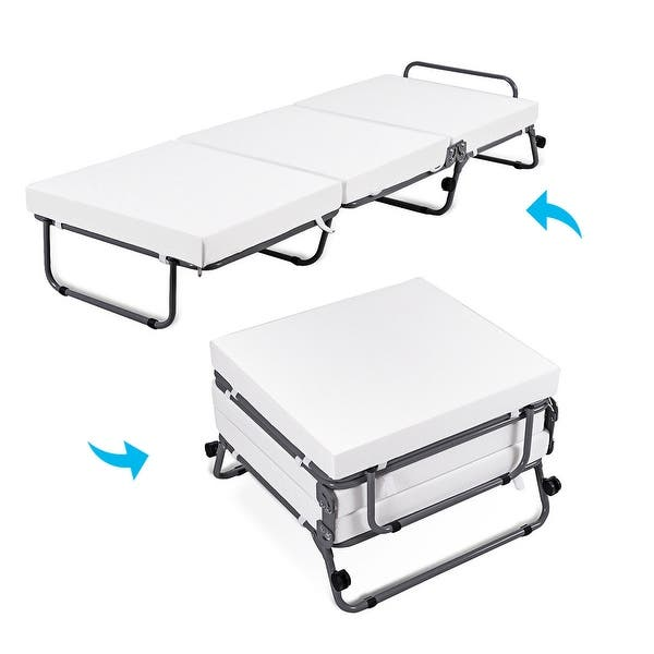 Shop Costway Folding Convertible Sofa Bed Ottoman Couch ...