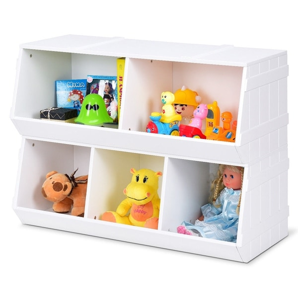 Bookshelf Storage Chest Kids Toy Box Plastic Play Room: Shop Gymax Kids Toy Box Storage Cabinet Flexible Stackable