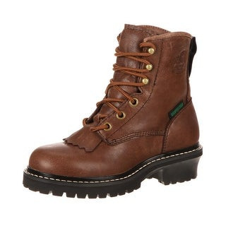 "Georgia Boot Work Boys 5"" Waterproof Logger Leather Brown"