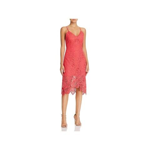 BB Dakota Womens Rylee Midi Dress Lace Scalloped