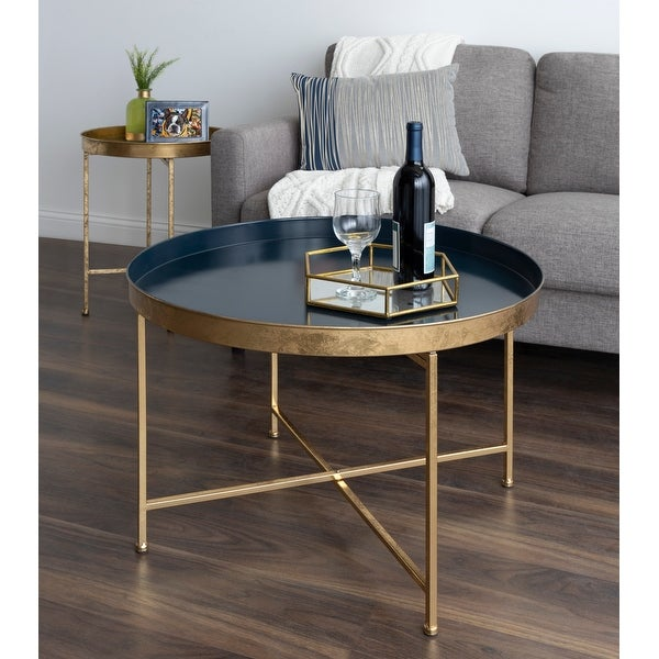 Kate and Laurel Celia Round Metal Coffee Table - 28.25x28.25x19. Opens flyout.