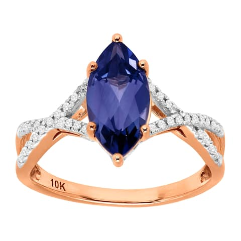 2 1/2 ct Created Ceylon Sapphire & 1/10 ct Diamond Marquise Ring in 10K Rose & White Gold - Blue