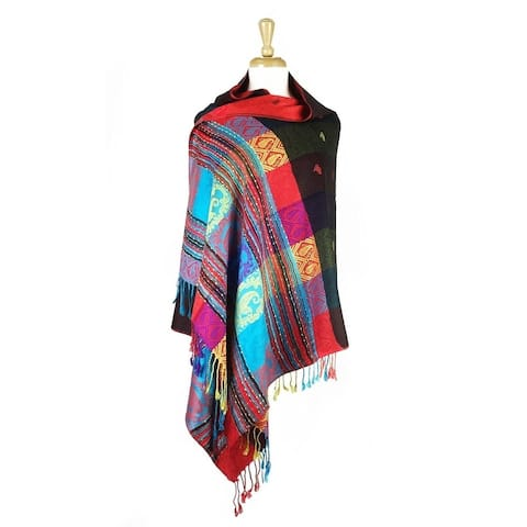 Pashmina Wrap Shawl Scarf Double Side Exotic Tropical Colorful