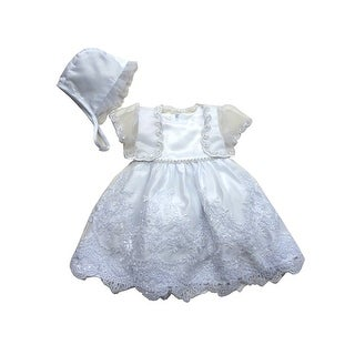 Baby Girls White Satin Shimmery Organza Jacket Bonnet Christening Gown