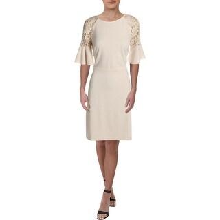 Lauren Ralph Lauren Womens Cathy Formal Dress Lace Inset Mini - Cashew