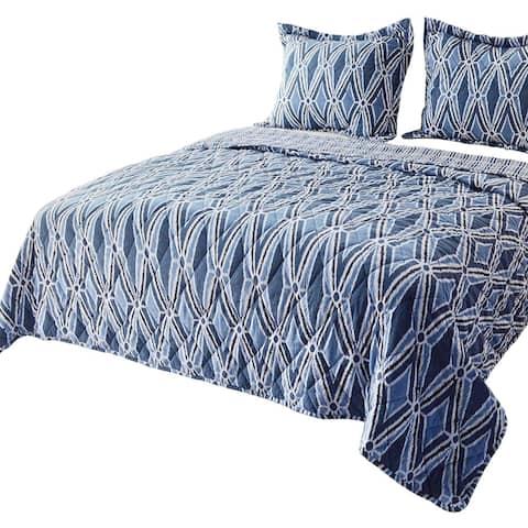 Kasentex Reversible Quilt Set, Contemporary Abstract Design