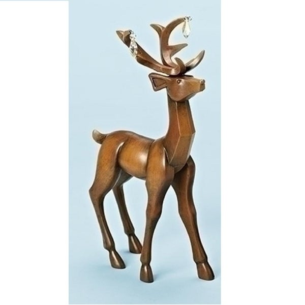 """11.75"""" Faux Wooden Finish Standing Deer Decorative Christmas Table Top Decoration"""