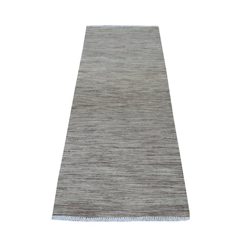 """Hand Knotted Brown Flat Weave with Wool Oriental Rug (2'6"""" x 6'5"""") - 2'6"""" x 6'5"""""""