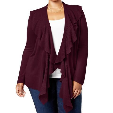 Karen Scott Women's Sweater Merlot Plus Ruffled Cardigan