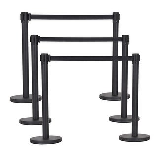 Costway 6Pcs Black Stanchion Posts Queue Pole Retractable Belt Crowd Control Barrier