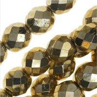 Czech Fire Polished Glass Beads, Faceted Round 8mm, 25 Pieces, Aurum Gold