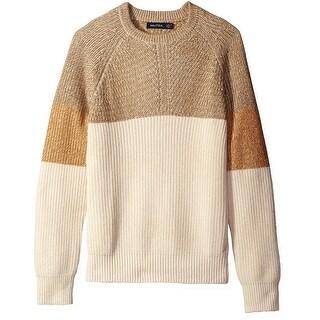 Nautica NEW Beige Mens Size Large L Colorblock Crewneck Sweater