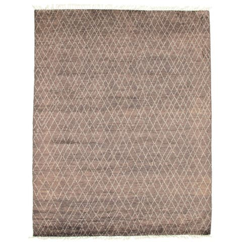 ECARPETGALLERY Hand-knotted Pak Finest Marrakesh Grey Wool Rug - 8'1 x 10'6