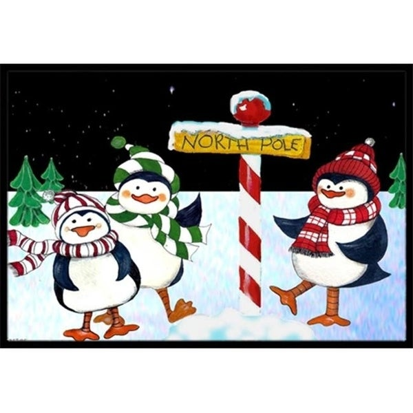Carolines Treasures PJC1082MAT North Pole Welcomes You Penguins Indoor & Outdoor Mat 18 x 27 in.