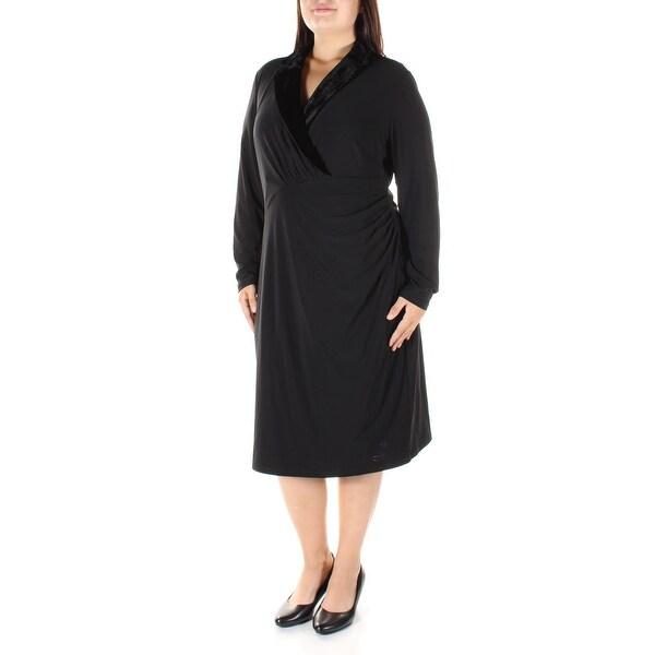 RALPH LAUREN Womens Black Ruched Velvet Long Sleeve Collared Below The Knee Sheath Dress Plus Size: 16W