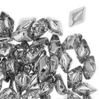 Czech Glass GemDuo, 2-Hole Diamond Shaped Beads 8x5mm, 8 Grams, Crystal Labrador