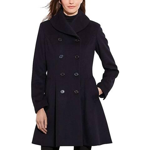 Lauren Ralph Lauren Women's Fit & Flare Military Coat, Regal Navy, 14