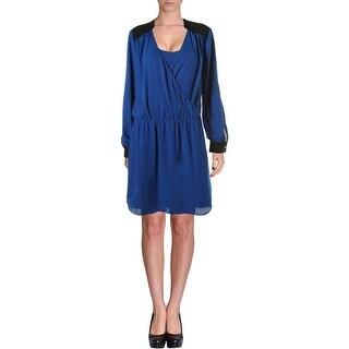 Vince Camuto Womens Chiffon Colorblock Wear to Work Dress