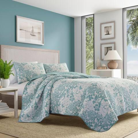 Tommy Bahama Laguna Beach Cotton Reversible Blue Quilt Set