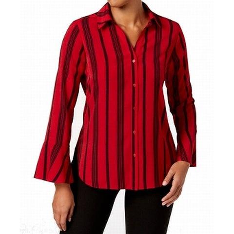 NY Collection Black Women's Stripe Button Down Shirt