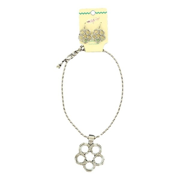 Blazin Roxx Jewelry Womens Necklace Earrings Flower Silver 30904