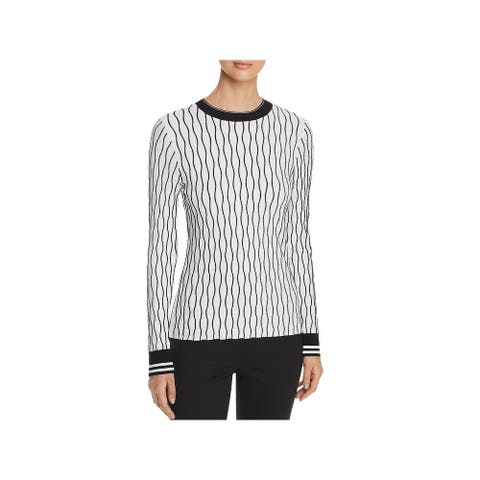 Elie Tahari Womens Emile Pullover Sweater Ribbed Two-Tone