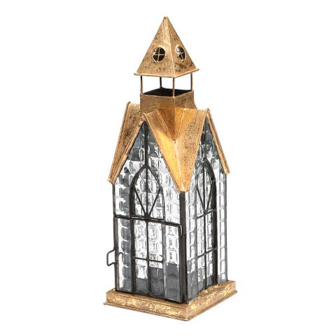 House Architectural Candle Lantern - Hampton House Tealight Holder - 4 in. x 4 in. x 12 in.