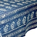 Handmade Dabu Floral Block Print 100% Cotton Tablecloth Indigo Blue Rectangular Square Round - Thumbnail 7