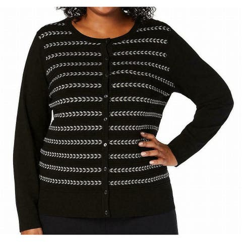 Charter Club Womens Sweater Black Size 1X Plus Cardigan Button Front