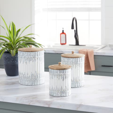 White Metal Farmhouse Decorative Jar (Set of 3) - 8 x 8 x 12