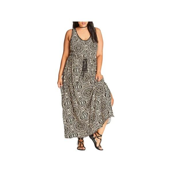 City Chic Womens Plus Maxi Dress Summer Animal