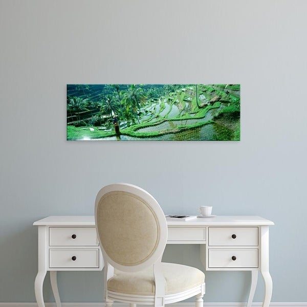 Easy Art Prints Panoramic Images's 'Person in tiered rice fields, Bali, Indonesia' Premium Canvas Art