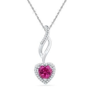 Heart Chandelier Pendant 10K White-gold With 1Ctw Pink CZ and Diamonds 0.125 Ctw By MidwestJewellery - White