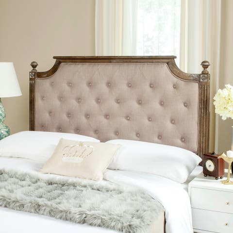 Safavieh Rustic Wood Taupe Tufted Linen Queen Headboard