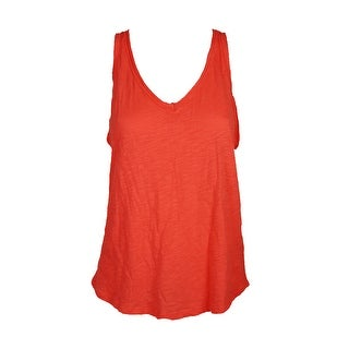 Maison Jules Fiery Red Cotton V-Neck Tank Top XL