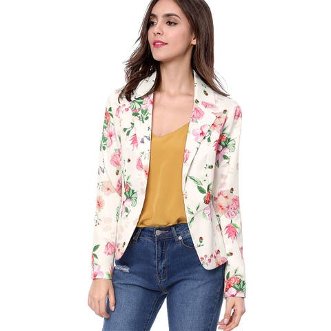 Allegra K Women Allover Floral Print Notched Lapel Open Front Blazer